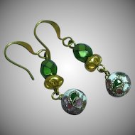 Cloisonne Old Vintage Gold Filled Pierced Earrings