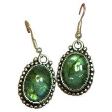 Labradorite Gemstone Sterling Silver Pierced Dangle Earrings