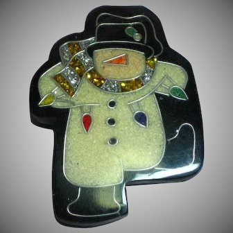 Vintage Colorful Laminated Inlay Plastic Dancing Snowman Pin Brooch