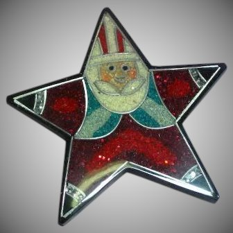Inlay Composite Material Santa Star Large Lucite Figural Pin Brooch