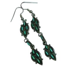 Native American Indian  Sterling Silver Zuni Turquoise Needle Point Dangle Drop Pierced Earrings