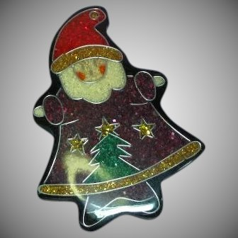 Santa Clause Stocking Stuffer Lucite Figural Pin Brooch
