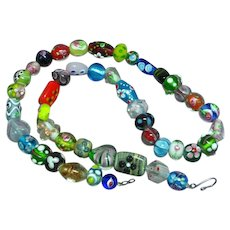 Applied Glass Colorful Encased Glass Beads Necklace