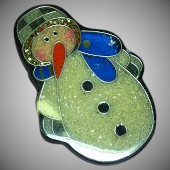 Vintage Colorful Laminated Inlay Plastic Snowman Pin Brooch