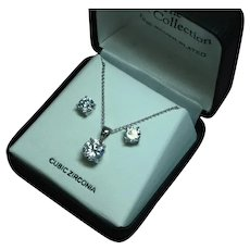 Cubic Zirconia CZ Solitaire Stud Prong Set Necklace Pierced Earrings  Set