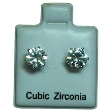 Cubic Zirconia CZ Solitaire Stud Prong Set Pierced Earrings