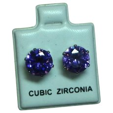 Cubic Zirconia CZ Purple Solitaire Stud Prong Set Pierced Earrings