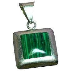 Mexico Mexican Signed Sterling Silver Malachite  Necklace Pendant