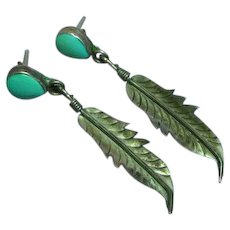 Native American Indian Hand Made Sterling Silver Turquoise Pierced Earrings