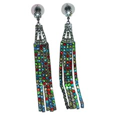 Vintage Runway Colorful Rhinestone Extra Long Shoulder Duster Pierced Earrings