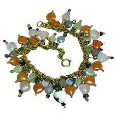 Gemstones Mixed Carved Hearts Crystal Dangle Gold Tone Charm Bracelet