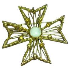 Jeweled Maltese Cross Mother of Pearl Rhinestones Pin Brooch