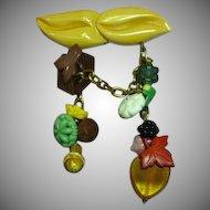 Vintage Butterscotch Bakelite Dangling Buttons Beads Pin Brooch