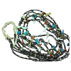 Native American Indian Long 3 Strand Turquoise Coral Heishi Shell Necklace