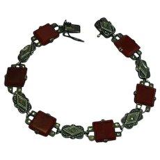 Marcasite Carnelian Agate Sterling Silver Art Deco Bracelet