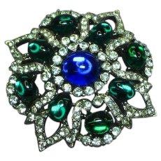 Vendome Signed Designer Gripoix Glass Rhinestones Brooch Pin