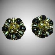 Hobe Signed Designer Rhinestone Bead Enamel Large Clip Earrings
