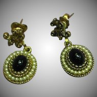 Avon Signed Dangle Black Gold Faux Seed Pearl Day Night Pierced Earrings