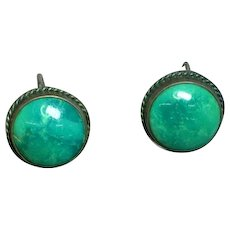 Native American Indian Sterling Silver Chrysocolla Turquoise Screw Back Earrings