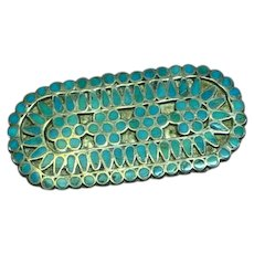 Native American Indian Zuni Turquoise Sterling Silver Pin Brooch