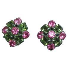 Pink Gray  Rhinestone Vintage Clip Earrings