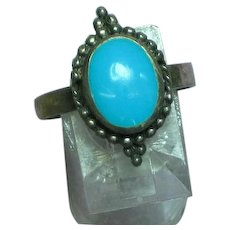 Native American Indian Sleeping Beauty Turquoise Sterling Ring