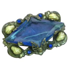 Rhinestones Blue Faceted Glass Pearled Leaves Silver Layered Pin Brooch