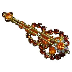 Juliana BOOK PIECE Topaz Rhinestone Golden Violin Figural Pin Brooch