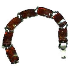 Genuine Baltic Amber  Sterling Silver Link Bracelet