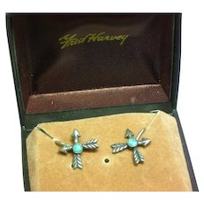 Fred Harvey Era Sterling Silver Turquoise Crossed Arrows Screw Back MIB Earrings