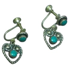Fred Harvey Era Sterling Silver Turquoise Hearts Screw Back Earrings