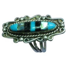 Native American Indian Large Old Pawn Sterling Silver Turquoise Abalone Jet Inlay Sleeping Beauty Ring