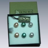 Honora Mixed Color Baroque Cultured Pearl Pierced Earrings MIB Set