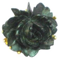 J.J. Signed Designer Black Rose  Figural Floral Pendant Pin Brooch