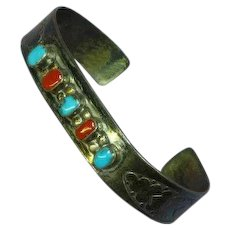 W. Long Signed Turquoise Coral Sterling Stamped Design Cuff Bracelet