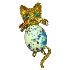 Easter Egg Art Glass Cabochon Belly Rhinestone Kitty Cat Figural Pin Brooch