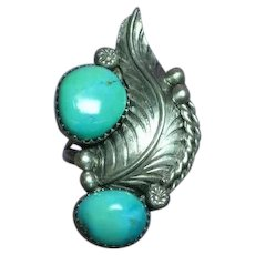 Native American Indian Large Old Pawn Sterling Silver Sleeping Beauty Turquoise Ring
