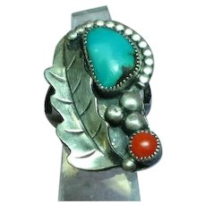 Native American Indian Large Old Pawn Sterling Silver Sleeping Beauty Turquoise Red Coral Ring