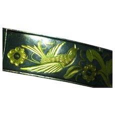 Gold Filled Shakudo  Japanese Damascene Bangle Bracelet