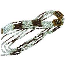 HOBE Signed Designer Pearl Topaz Crystal Rhinestone Rondelle Necklace Bracelet Set Demi Parure