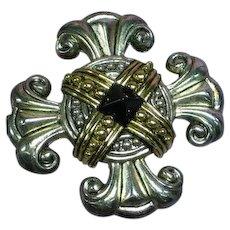 Premier Signed Designer Celtic Maltese Cross Pin Brooch