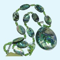 Vintage Spectacular  Abalone Shell Statement Piece MwT Necklace