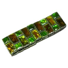 Gorgeous Abalone Shell Inlay Stretch Panel Bracelet