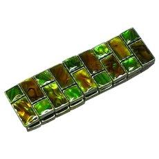 Gorgeous Abalone Shell Inlay Stretch Panel Bracelet