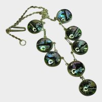 Iridescent Morpho Butterfly Wing Station Necklace