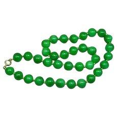 Green Jadeite Jade 14K Yellow Gold Bead Necklace
