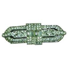 Coro Duette Signed Art Deco Rhinestone Duette Pin Brooch Dress Clip
