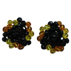 Gorgeous Bohemian Faceted Glass Round Clip Earrings