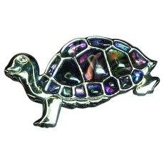 Abalone Shell Clear Enamel Turtle Pin Brooch