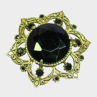 Florenza Signed Large Black Gold Pin Brooch